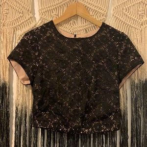 Black and Tan lace crop top.